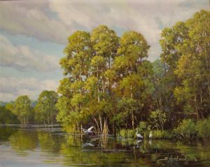 Egrets on the River 16 x 20 Oil Painting