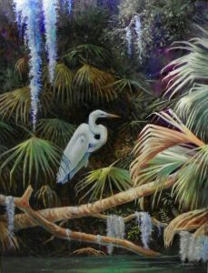 Egret on a Limb 24 x 18