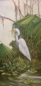 Egret Among the Fronds 48 x 24